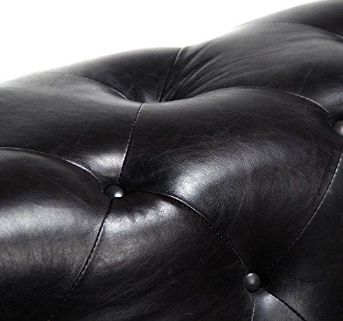 Hollywood Regency French Modern Alex Black Tufted Leather Sleek Sofa 3