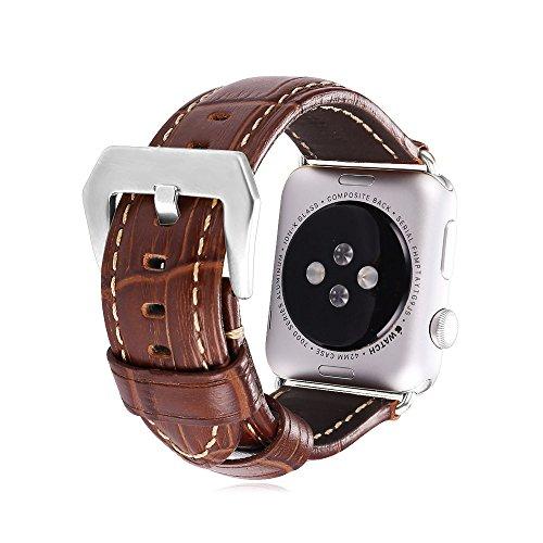 iWatch Bracelet, Bandmax Bracelet Apple Watch en Cuir Véritable Couleur Havane Boucle Classique Apple Watch Band Bracelet de Remplacement Adapté Toutes Éditions (Argetné, 42mm)