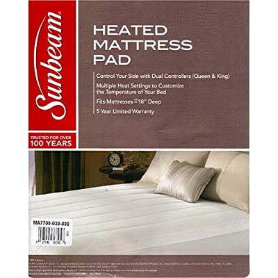 Sunbeam Thermofine Quilted Striped Heated Electric Mattress Pad Assorted Sizes
