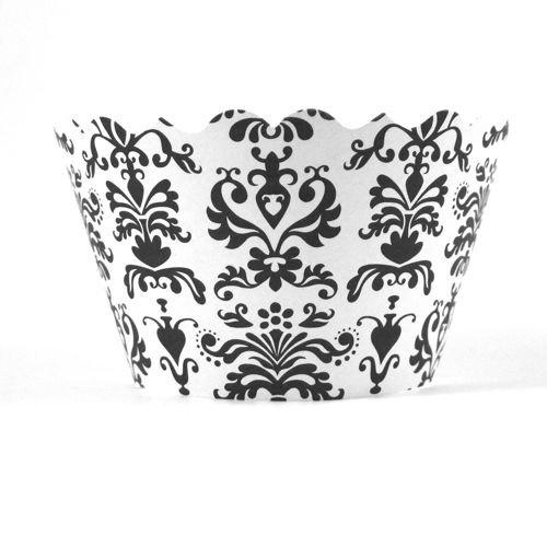 Bella Cupcake Couture 100-Pack Lu Lu Damask Cupcake Wrappers, Mini, Black/White front-745649