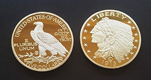 1 Oz .999 Fine Pure Gold Layered Steel Coin INDIAN HEAD FIVE DOLLARS OR HALF EAGLE 1915 (1908-1929) Replica- Grace Specialty 063 (Indian Head Coin compare prices)