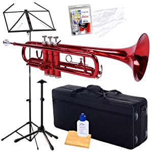 Barcelona B-Flat Student Trumpet Bundle with Trumpet Stand, Music Stand, Care Kit, Polishing Cloth, Hardshell Case, and Handling Gloves - Red