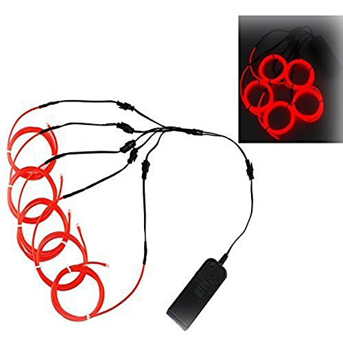 Ourbest 5 X 1m 5 colors Neon Electroluminescent (El) Wire with Battery Pack Controller bike Cosplay Dress Halloween Christmas Party Decoration Indoor Ourdoor(red) (Carros Ford compare prices)