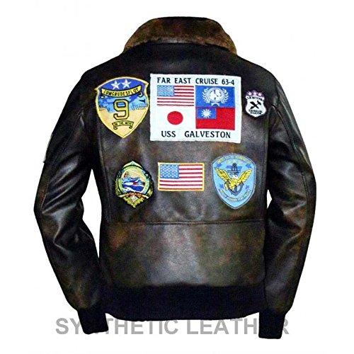 Tom Cruise Pete Maverick Top Gun volo Bomber giacca in pelle vera pelliccia Black XXL