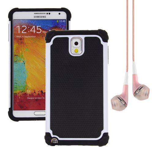 Hybrid Dual Layer Armor Defender Protective Case Cover For Samsung Galaxy Note 3 (At&T Verizon Sprint T-Mobile) + Vangoddy Pink Headphone (White)