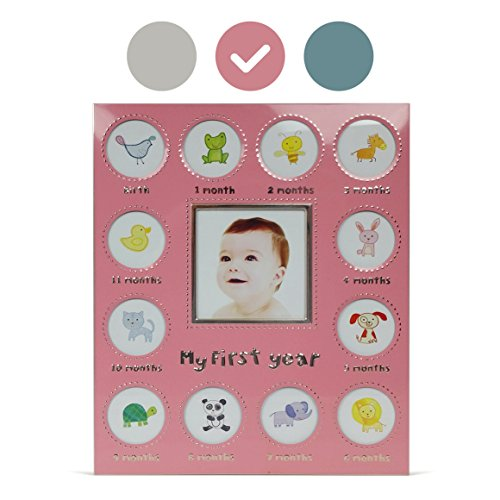 Baby's My First Year Picture Frame - Available In 3 Colors - Silver/Blue/Pink - Larger Collage Picture Openings (Pink) (Silver Baby Frame compare prices)