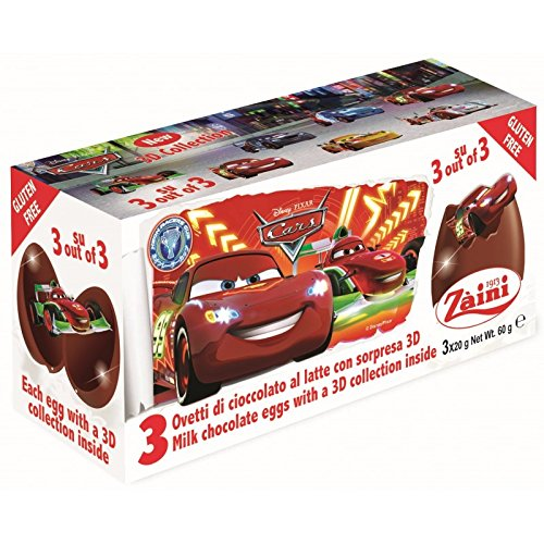 Disney CARS Zaini Milk Chocolate with Surprise Collection 3 Eggs