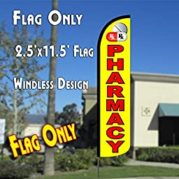 PHARMACY (Yellow/Red) Windless Polyknit Feather Flag (2.5 x 11.5 feet)