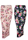 Womens Ex New Look Summer Blue Pink Floral Pencil Bodycon Tube Skirt