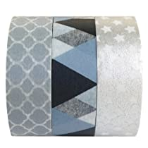 Wrapables Silver Lining Japanese Washi Masking Tape, Set of 3