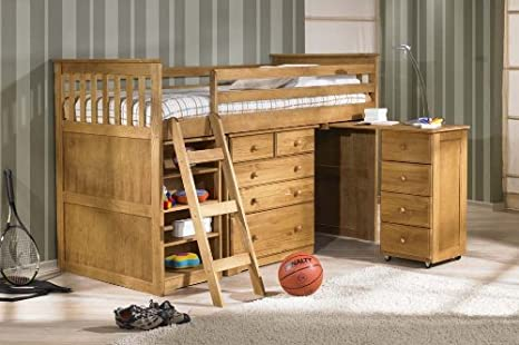 Children's / Kids 3ft Single Captain Cabin Storage Midsleeper Bunk Solid Pine Wooden Bed Bedstead in Finished in Waxed Pine & 3'0 Spring Flexi Medium Mattress
