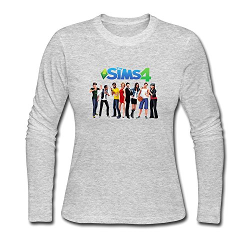 The Sims 4 Character Hot 100% Cotton Gray Long Sleeve Tshirt For Women's Size XL (The Sims 4 Merchandise compare prices)