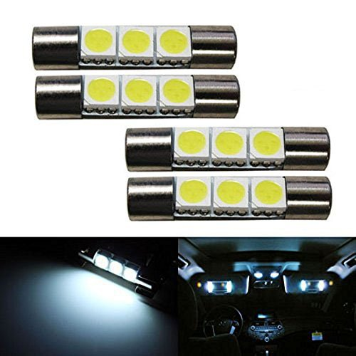 iJDMTOY (4) 3-SMD 29mm 6614F LED Replacement Bulbs For Car Sun Visor Vanity Mirror Lights, Xenon White (Light Bulb Replacement Car compare prices)
