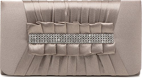 VINCENT PEREZ Borsetta, Borsa a tracolla, Pochette di raso increspato con strass eleganti e tracolla rimovibile (120cm),Colore:Beige/marrone