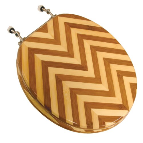 Comfort Seats C1B2R2-21BN Wood Round Toilet Seat w/ Brushed Nickel Hinges, Zebra