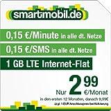 smartmobil.de 1 GB LTE Handytarif [SIM, Micro-SIM und Nano-SIM] 24 Monate Laufzeit (1 GB LTE Internet-Flat mit max. 21,1 MBit/s, 0,15 Euro pro Minute, 0,15 Euro pro SMS, 2,99 Euro/Monat in den ersten 12 Monaten, danach 6,99 Euro/Monat) O2-Netz