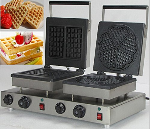 Boshi Electronic Instrument® NP-571 110V/220V 2 Pieces Rectangle Waffle And 5 Pieces Heart-Shaped Waffle Maker 2 in 1 Waffle Baking System Commercial Waffle Toaster CE Certification (Two In One Toaster Ovens compare prices)