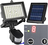 64 LED - Lithium Battery - Digitally Adjust TIME & LUX by Button --- MicroSolar Outdoor Solar Motion Sensor Light --- Security Floodlight