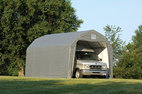 Shelterlogic Outdoor Garage Automotive Boat Car Vehicle Storage Shed 12x24x11 Barn Shelter Grey Cover image