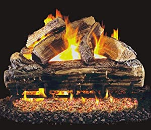 """""""R.H. Peterson S6G4-20 - 20"""""""" Split Oak Low Stack Vented Gas Logs with Burner for Natural Gas Fireplaces."""""""