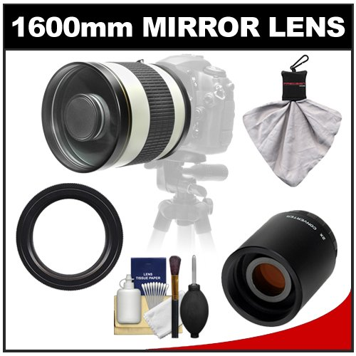 Samyang 800Mm F/8.0 Mirror Lens (White) With 2X Teleconverter (=1600Mm) For Canon Eos 60D, 7D, 5D Mark Ii Iii, Rebel T3, T3I, T4I Digital Slr Cameras