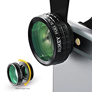 AUKEY 3 in 1 Clip-on Cell Phone Camera Lens Kit, 180 Degree Fisheye Lens + Wide Angle Lens+ 10 X Macro Lens for iPhone, Samsung, Android Smartphones
