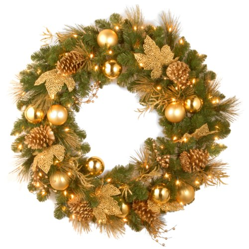 National Tree DC13-109L-36W 36-Inch Decorative Collection Elegance Wreath with 100 Clear Lights