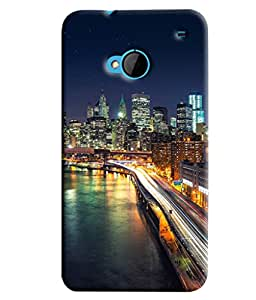 Blue Throat Commecial City In Night Printed Designer Back Cover/ Case For HTC One M7