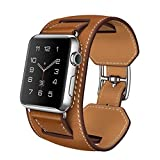 Apple Watch Cuff Band, Apple Watch Band Leather,genuine Leather Band Cuff Bracelet Leather Watchband With Adapter... - B016UC9XY0