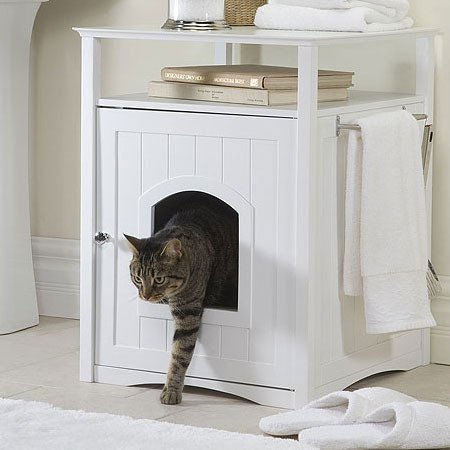 Nightstand Pet Crate & Litter Box Enclosure - Cats Cat Kitty Rascal Dog Puppy Feline Pine Boxes Beds Sale! front-52083