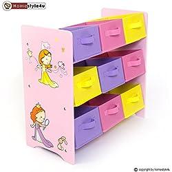 Homestyle4u Kinderregal Spielzeugbox Spielzeugkiste Kindermöbel Regal Kinder Aufbewahrung