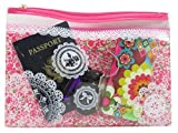 Mini Travel/Cosmetic Zipper Bags Vinyl 10 x 7 All Pink and Assorted Colors (2 Piece)