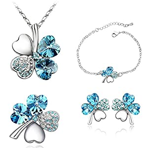 Smileforever Austrial High Grade Crystal Chain Earrings Ring Bracelet-Lucky Clover(C1)