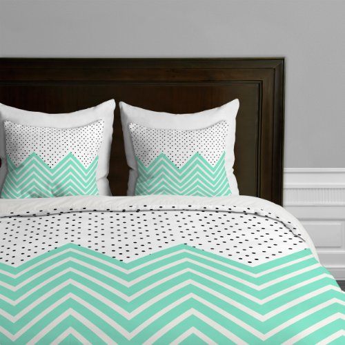 Allyson Johnson Minty Chevron And Dots Duvet Cover back-934684