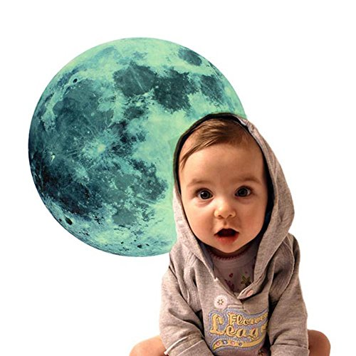 MMRM Full Moon Decal Glow in the Dark MoonLight Wall Sticker 30cm Large Home Room Decoration