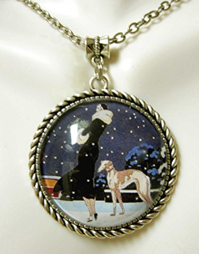 Greyhound in the snow impressionist pendant with chain - DAP25-045
