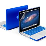 GMYLE(R) 3 in 1 Blue Matte Rubber Coated See-Thru Hard Case Cover for Aluminum Unibody 13.3″ inches Macbook Pro – with Blue Silicon Keyboard Protector – 13 inches Clear LCD Screen Protector –