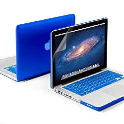 GMYLE(R) 3 in 1 Blue Matte Rubber Coated See-Thru Hard Case Cover for Aluminum Unibody 13.3 inches Macbook Pro - with Blue Silicon Keyboard Protector - 13 inches Clear LCD Screen Protector -