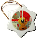 3dRose Orn_64868_1 A Painting Done With A Guitar, Laser Disc, Ipod, And CD Snowflake Porcelain Ornament, 3-Inch...