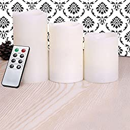 Flameless Candles - LED Candles with Remote Control, Real Wax, Pillar, Cream Color Candle Set - Long Hours of Lighting - Set of 3 (8 Function Remote Control)