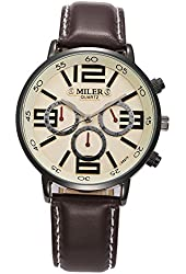 Miler Men's Fashion Leisure PU Leather Band Quartz Wrist Watches- Brown Band