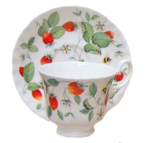 Alpine Strawberry Bone China Tea Cup & Saucer Set