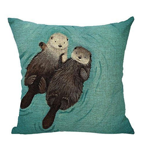 1WillLoanestore Two lovely sea otter 18 X 18 Creative Fashion Cotton Linen Square Decorative Throw Pillow Cover