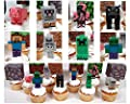 "MINECRAFT 14 Piece Birthday CUPCAKE Topper Set Featuring 8 Random Minecraft Figures and Themed Decorative Accessories, Figures Average 2"" to 3"" Inches Tall"