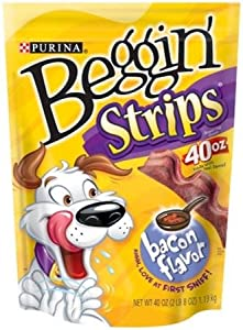 PURINA 381075 4-Pack Beggin Strips Original Bacon Food for Pets, 40-Ounce