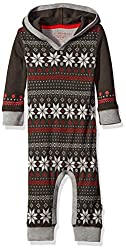 Burt's Bees Baby Boys' Organic Henley Thermal Hooded Coverall, Charcoal Fair Isle, 6-9 Months