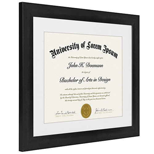 Black Document Frame Made To Display Certificates Sized