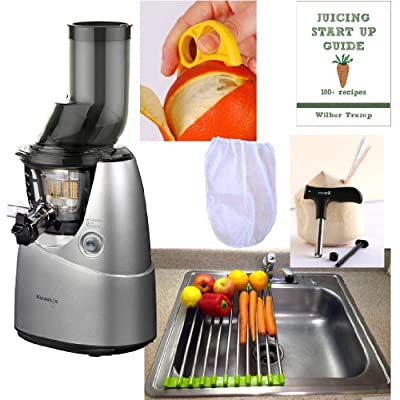 Kuvings Whole Slow Juicer Combo Pack 3 + Folding Drain Rack + Nut Milk Bag + Juicing eBook,recipes + Cocodrill Coconut Tool + Citrus Peeler - Heavy Duty Vertical Single Auger Low Speed Juicing B6000S