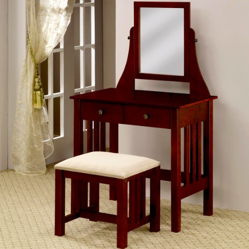 Coaster Furniture 300064 Mission Style Vanity with Swivel Mirror and Stool in Walnut 300064