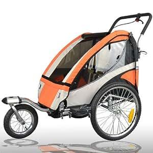 Jogger Remorque à Vélo 2 en 1, pour enfants + Amortisseur 504S-03 Orange-Noir